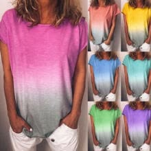 -Women Casual Loose Blouse Tops Rainbow Short Sleeve Summer Shirt Ladies T-Shirt on JD