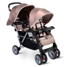 -Foldable Twin Baby Double Stroller Kids Jogger Travel Infant Pushchair 3 color-Beige on JD