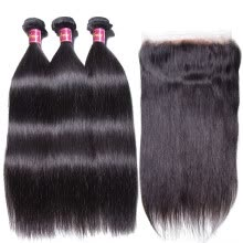 -UNice 8A Malaysian Virgin Human Hair Bundles with 360 Lace Frontal Closure Straight on JD