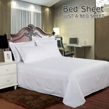 -Hotel Bed Linen White Sheet Cotton Solid Color Flat Sheet on JD