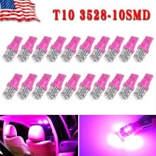 -20X Pink/Purple T10 Wedge 10SMD LED Interior Light Bulb W5W 2825 158 168 192 194 on JD