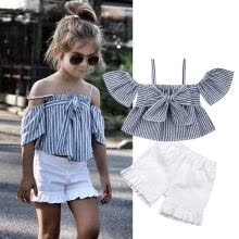 -Toddler Kid Baby Girl Summer Outfit Clothes Vest T-shirt Top+Short Pants Sunsuit on JD
