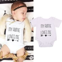 -Newborn Baby Boy Girl Auntie Arrow Print Romper Summer Outfits Clothes Sunsuit on JD