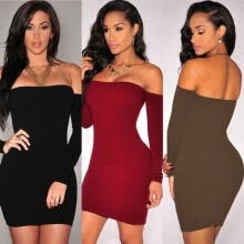 -Women Bandage Bodycon Long Sleeve Evening Sexy Party Cocktail Pencil Mini Dress on JD