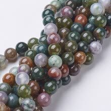 beads-Gemstone Beads Strands, Natural Indian Agate, Round, about 8mm in diameter, hole: about 1mm, 15~16' on JD