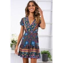 -Women Short Sleeve Wrap Boho Floral Mini Dress Ladies Summer Sundress Holiday on JD