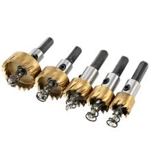 -5PCS High Speed Steel Hole Saw Cutter Tool Saw Tooth HSS 6542 Titanium Coated Drill Bits Set 16/18.5/20/25/30mm Power Drilling Too on JD