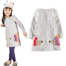 -Stylish Kids Girls Birthday Party Long Sleeved Shirt A-line Striped Cotton Dress on JD