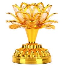 -Greensen Colorful Light Buddhism Faith Supply Lotus Light (Without Battery Deliver US Plug 110-240 V) on JD