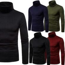 -2018 MENS ROLL NECK LONG SLEEVE COTTON TOP POLO & TURTLE NECK BASIC T SHIRTS on JD