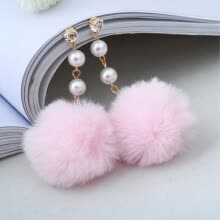 -EK580 New Cute Long Plush Ball Simulated Pearl Dangle Earring for Women Jewelry Crystal Hair Ball Drop oorbellen Gift Brincos on JD