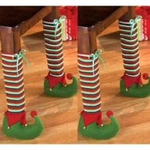 -Christmas Elves Table Chair Leg Sock Stocking Cover Xmas Party Decor Ornament on JD