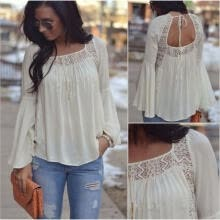 -New Fashion Women Bell Sleeves Embroidery Top Blouse Lace Crochet Chiffon Shirt on JD