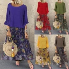 -Women Casual Floral Boho Dress Party Evening Cocktail Dresses Cotton Linen Chiffon Tops Dress Outfits Clothes Set on JD