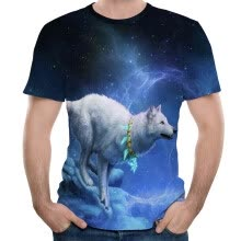 -2018 Summer Men 's New Snow Wolf 3D Printed Short-Sleeve T-shirt on JD