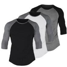 -US Fashion Men's 3/4 Sleeve Slim Fit Shirt Baseball Casual Sport T-Shirt Tee Top on JD