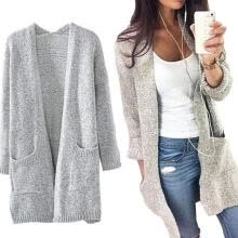 -Women Fashion Cotton Blend Long Sleeve Oversized Loose Knitted Sweater Jumper Cardigan Outwear Coat Gray on JD
