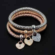 -Hot European Fashion Women 3Pcs Gold Silver Rose Gold Chain Bracelets Set Rhinestone Bangle Pendant Bracelet Jewelry on JD