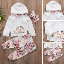 -3PCS Newborn Kids Baby Girls Spring Sweatshirt Hoodies+Pants Headband Outfit Set 0-24M on JD