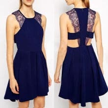 -Fashion Sexy Women´s Summer Lace Sleeveless Evening Party Beach Dress Short Mini Dress Navy Blue Black on JD