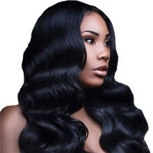 -Amazing Star 150% Density Body Wave Crochet Lace Front Wig with Baby Hair Brazilian Virgin Hair Wig Soft and Bouncy on JD