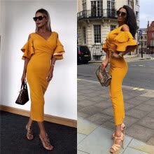 -New Women Dress Summer Vestidos Verano 2018 Celebrity Party Dresses Yellow Red Ruffles Butterfly Short Sleeve Midi Dress on JD