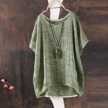 torques-2018 Women Summer Bat sleeve Casual Loose Top Cotton Shirt Pendant Ornaments on JD