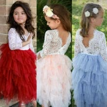 -Kids Baby Girls Laces Backless Long Dress Princess Party Wedding Tutu Dresses on JD