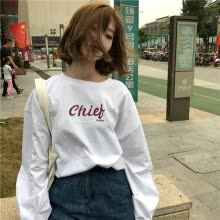 -Women Letter Print Loose T Shirt White Long Sleeve O-Neck Autumn Oversize Casual Korea Tee Shirt on JD