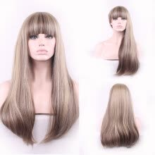 -〖Follure〗Fashion Straight Gold Synthetic Natural Hair Wig Long Full Wigs Party Hair Wigs on JD