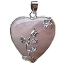 -Women's Rose Quartz Alloy Flower Necklace Pendant Heart Inlaid Charm Jewelry on JD