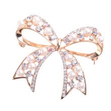 brooches-Popular Cute Exquisite Brooch Big Bow Down Collar Flower Brooch Simulated Pearls Rhinestone on JD