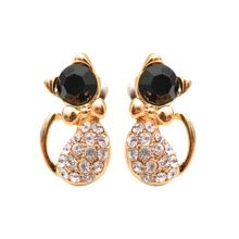 -Cute Personality Black Gemstone Earrings Kitten Shape Earrings on JD