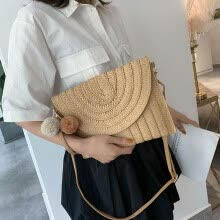 -Mesh red hollow straw package oblique Bag insrattan package beach holiday package round one-shoulder Bag Girl on JD