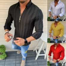 -Men Striped Long Sleeve Zipper Shirts Male Casual Business Fit Blouse Slim Top on JD