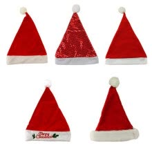 -〖Follure〗5PC Kids Children Christmas Party Santa Hat Red Cap for Santa Claus Costume on JD