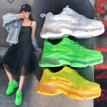 -Thick bottom ins Torre shoes female summer 2019 new street breathable mesh jelly fluorescent green sports running shoes on JD