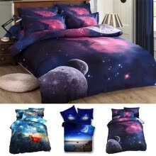 -3D Galaxy Duvet Cover Set Single Double Twin/Queen Bedding Sets Universe Outer Space Themed Bed Quilt Cover Set on JD