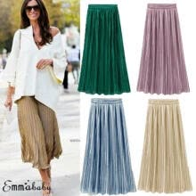 -Ladies Womens Long Midi Pleated Skirt Elastic Waist Double Layer Chiffon Dresses on JD
