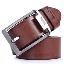 -New Men´s Waistband Casual Dress Leather Pin Metal Buckle Belt Black Brown Strap on JD