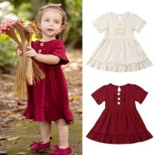 -US Vintage Infant Kid Baby Girl Clothes Short Sleeve Lace Dress Dresses Outfit on JD