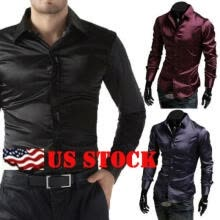 -Silk Satin Men Slim Fit Shirts Long Sleeve Dress Shirt Casual T-Shirt Wedding on JD