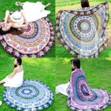 strategic-management-New Round Mandala Hippie Boho Tapestry Beach Picnic Throw Towel Mat Blanket on JD