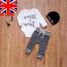 -3PCS Newborn Baby Kids Girl Boy Long Sleeve Romper Tops+Pants+Hat Outfit Clothes on JD