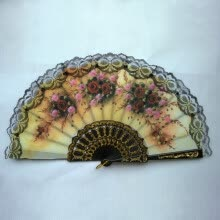 -Lace Edge Dancing Props Multi-Colors Spanish Style Hand Held Fabric Fans on JD