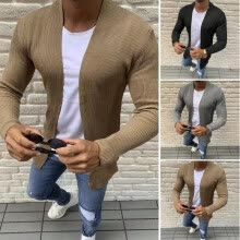 -Mens Designer Shawl Collared Open Heavy Knitted Outwear Sweater Jumper Cardigan on JD