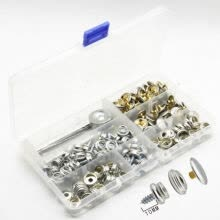 -Stainless Steel Fastener Screw Snap Buttons with Fixing Tool Storage Box DIY Craft Cloth Bag Decor on JD