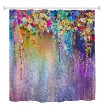-180*180CM Waterproof Watercolor Flower Printed Thicken Bath Shower Curtains UK on JD