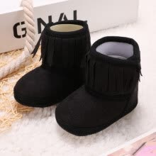 -Baby Boots Winter warm infant Bootie Girl Newborn Solid Color Tassel Soft Bottom Cotton Boots on JD