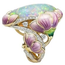 -Women Fashion Ring 18K Solid Gold Floral Ring Lavender Fuchsia Lotus Enamel Oval Cut Fire Opal Diamond Jewelry on JD